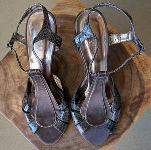 Brown Satin & Snakeskin Heels